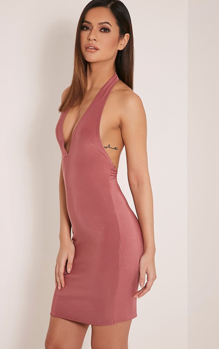 Kaylia Rose Slinky Plunge Bodycon Dress 1