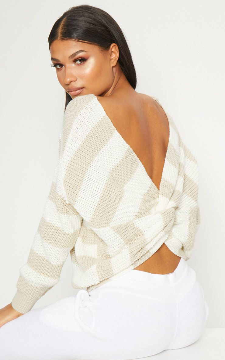 Stone Stripe Twist Back Jumper