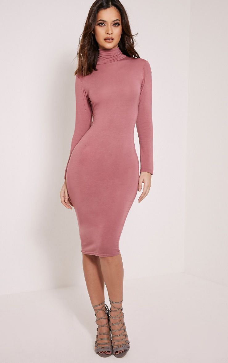 Basic Rose Roll Neck Midi Dress