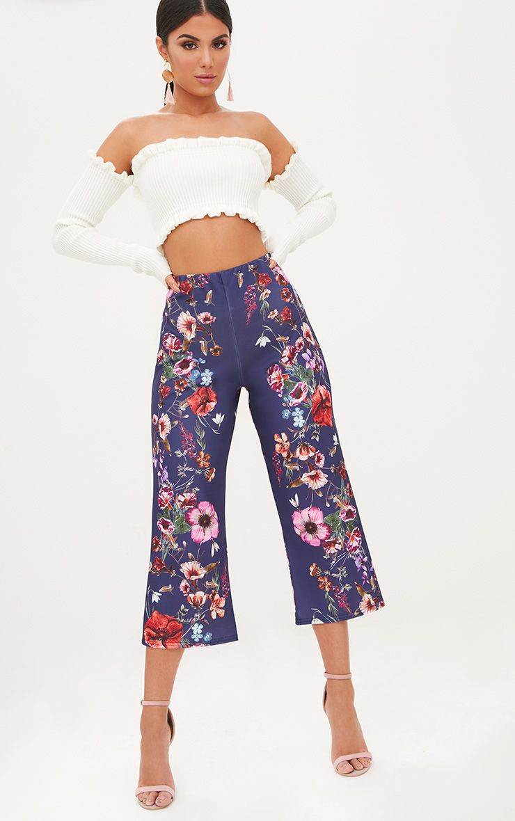 Navy Floral Placement Culottes