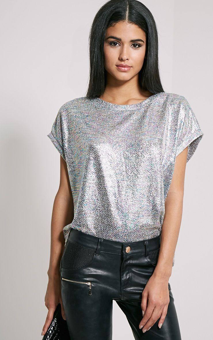 Sabina Metallic Hologram Print Oversized T-Shirt 1