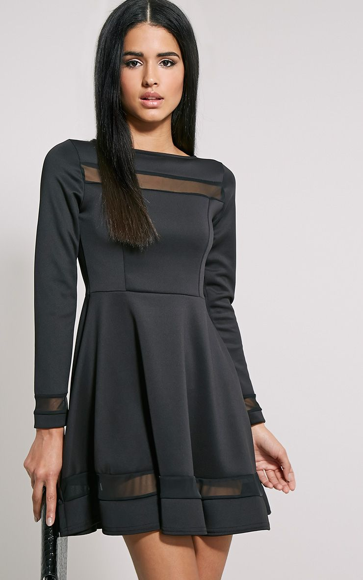 Leyah Black Mesh Insert Skater Dress 1