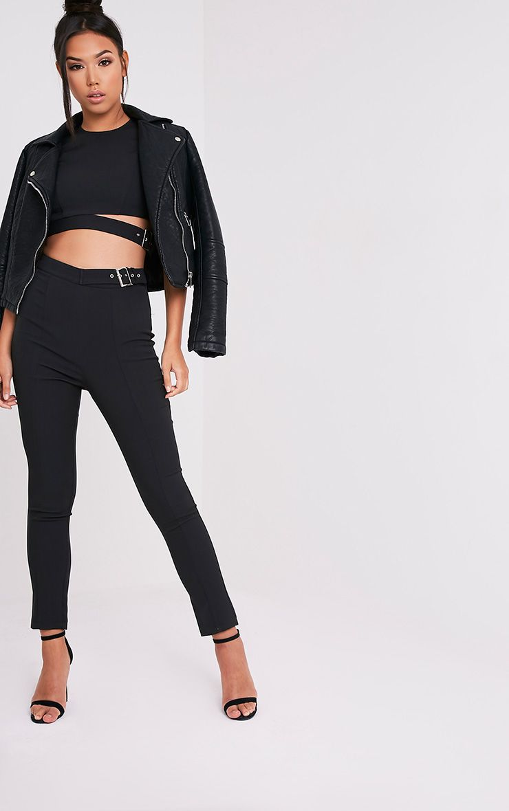 Oria Black Buckle Side Cigarette Trousers 1