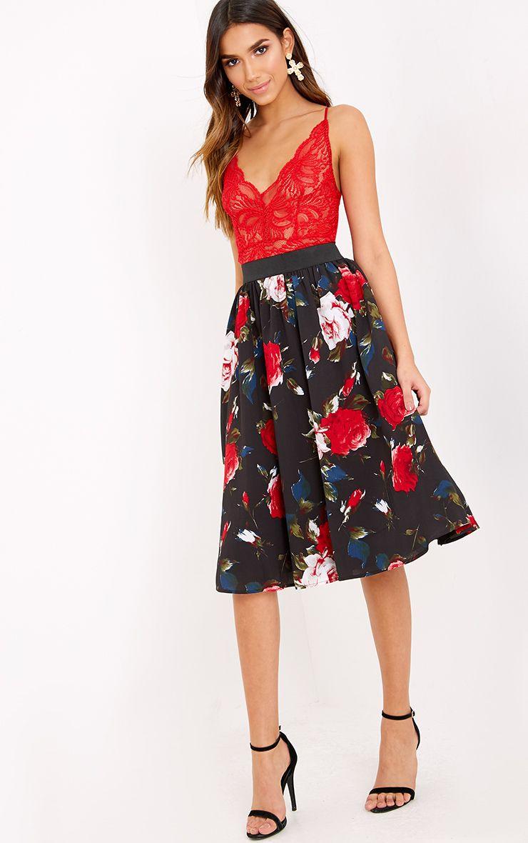 Anitta Black Floral A Line Midi Skirt