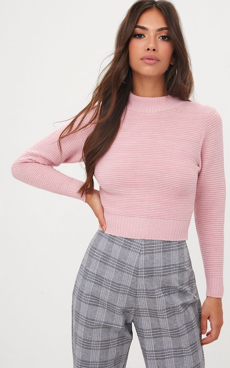 Pink Ribbed Cropped Knitted Jumper