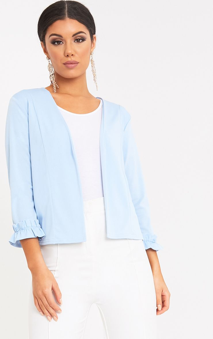 Esme Light Blue Ruffle Cuff Cropped Blazer
