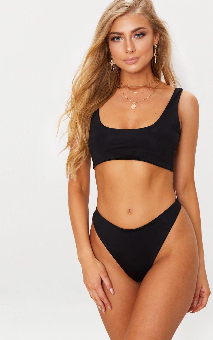 Black Two Piece Scoop Bikini Set 1