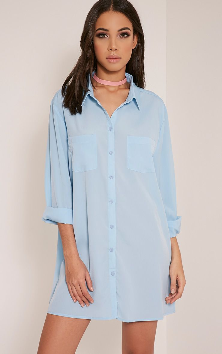 Effy Dusty Blue Shirt Dress 1