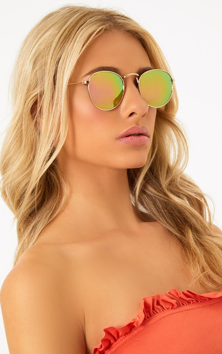Gold Frame Mirror Lens Round Sunglasses