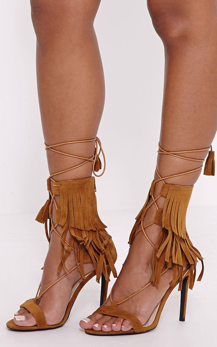 Haiden Tan Tassel Strap Sandals 1
