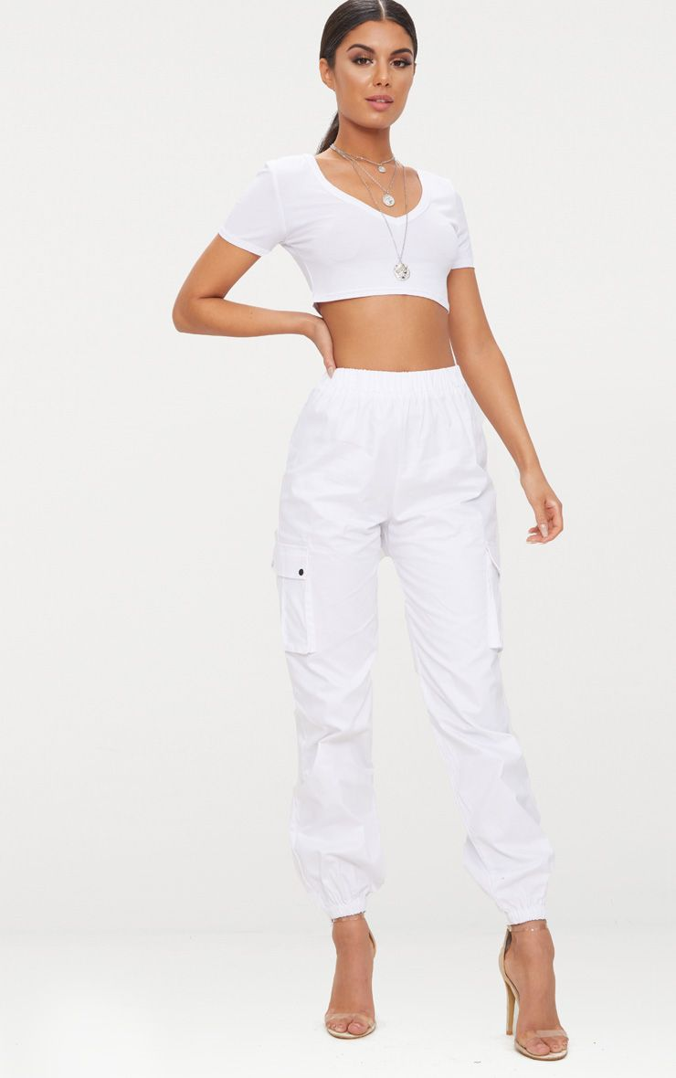 White Pocket Detail Cargo Trousers