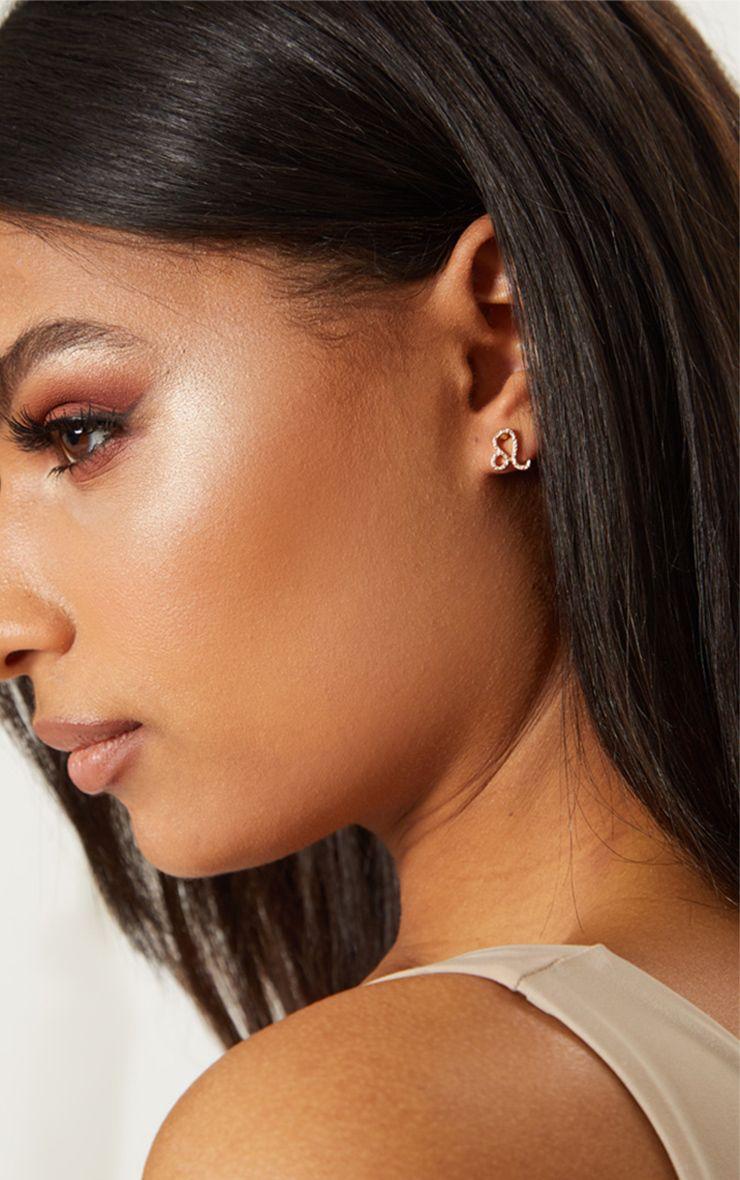 Gold Zodiac Leo Stud Earrings 1