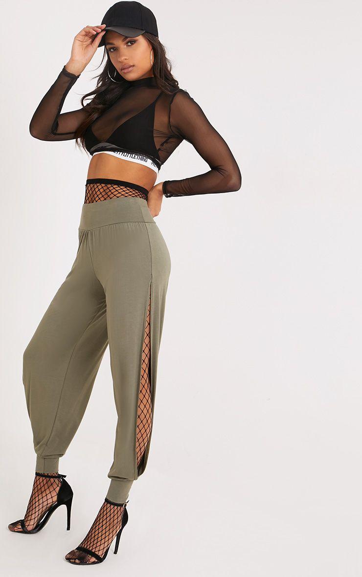 Chasity Khaki Split Side Jersey Trousers