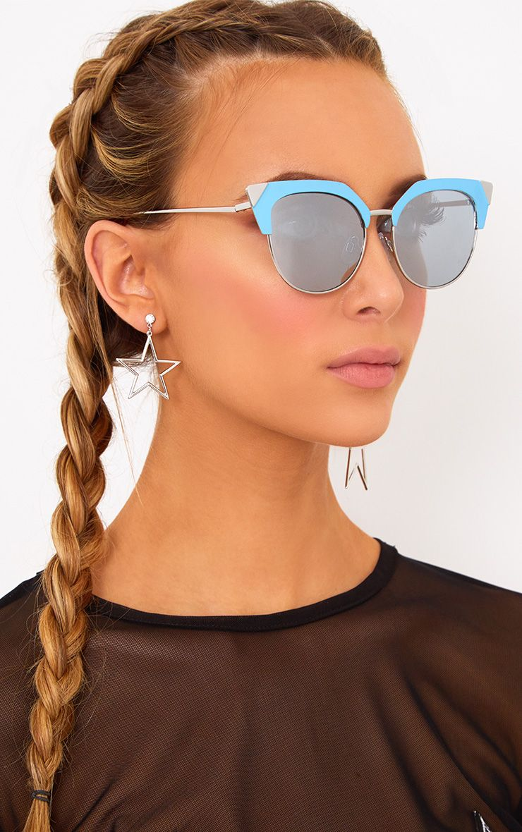 Blue Retro Cat Eye Sunglasses
