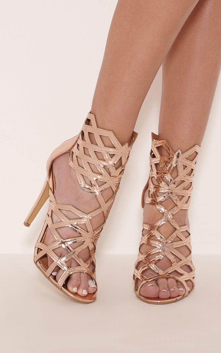 Derica Rose Gold Metallic Honeycomb Heels 1