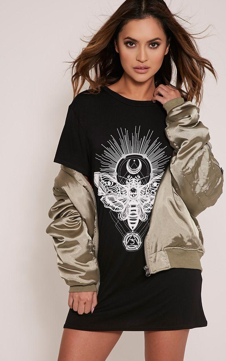 Petite Moth Skull Print Black T Shirt Dress 1