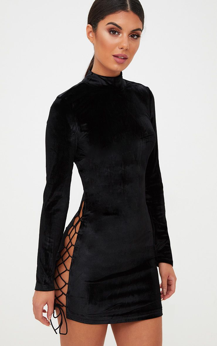 Black Velvet Side Lace Up Bodycon Dress