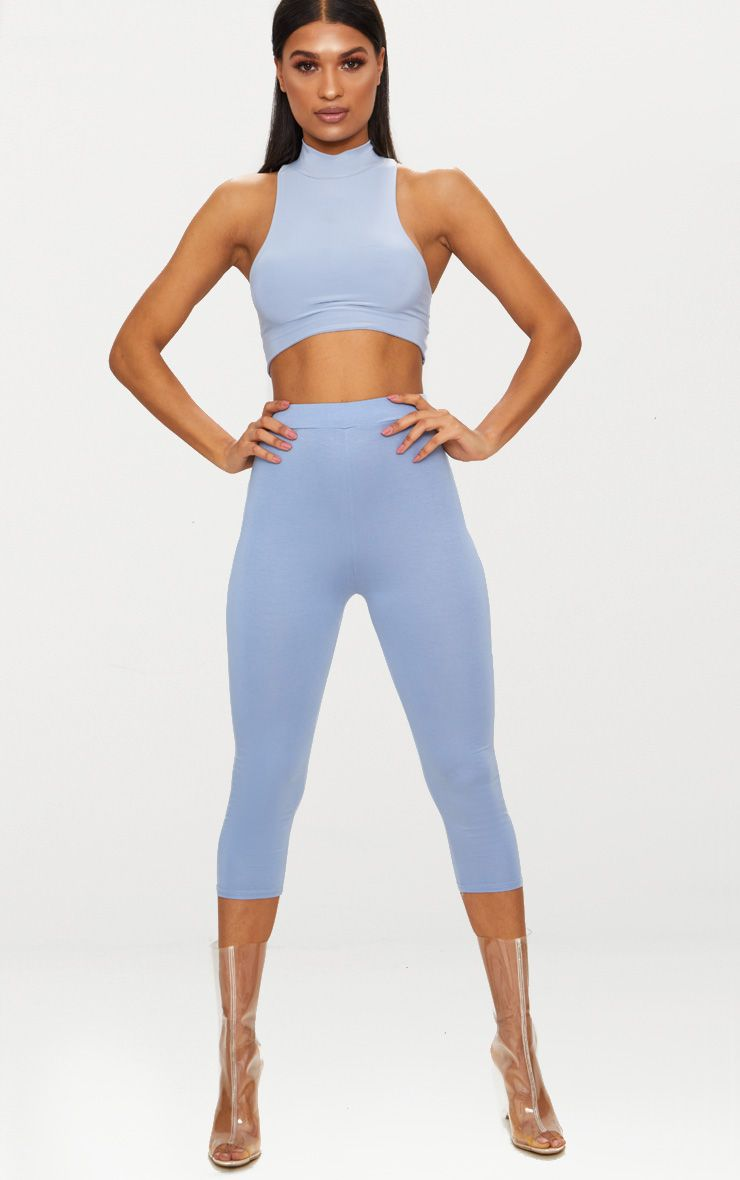 Dusty Blue Basic Cropped Jersey Leggings