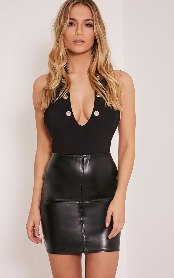 Catalina Black PU Mini Skirt 1