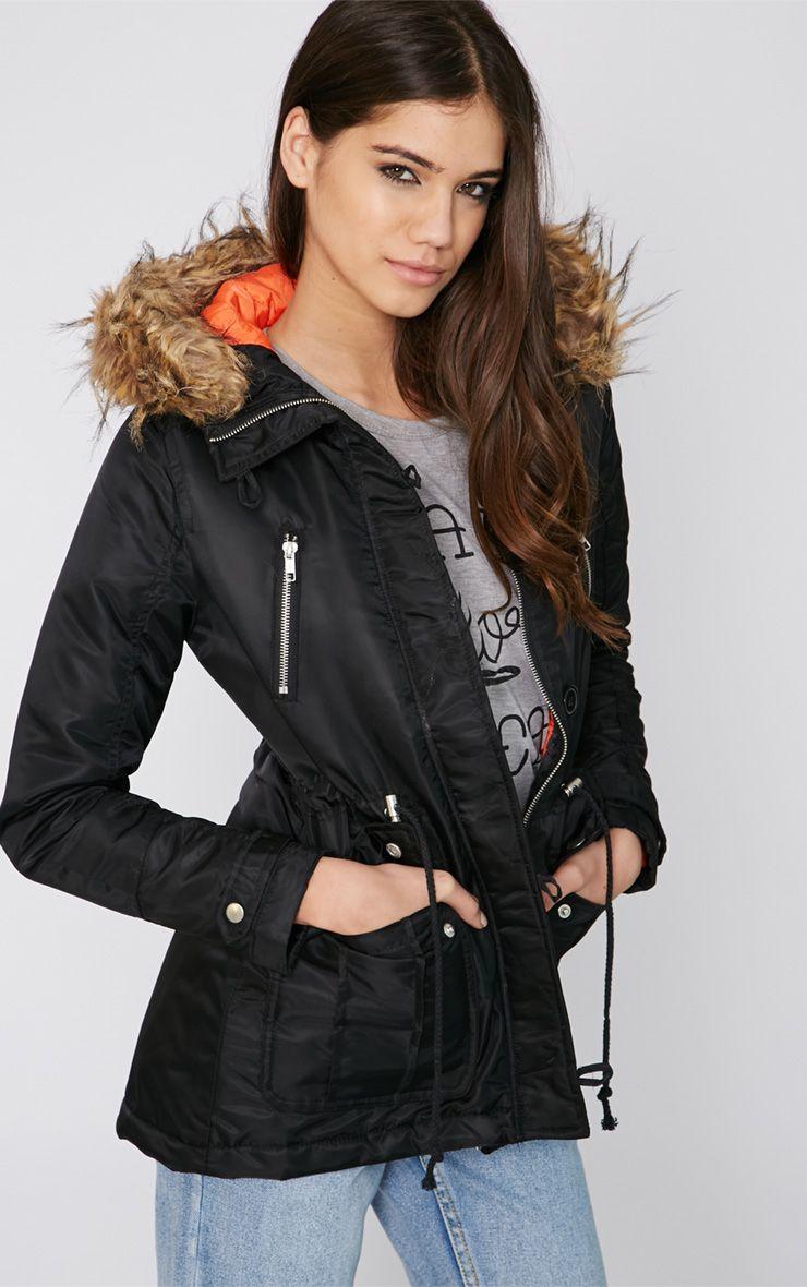 Lizetha Black Short Length Parka 1