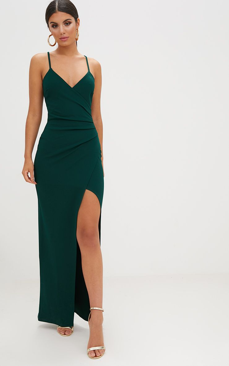Emerald Green Wrap Front Crepe Maxi Dress Dresses