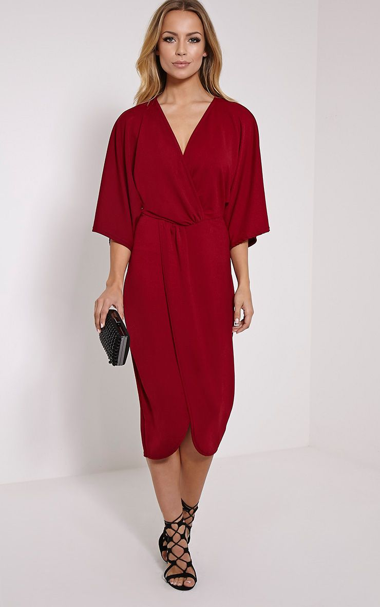 Archer Burgundy Cape Midi Dress