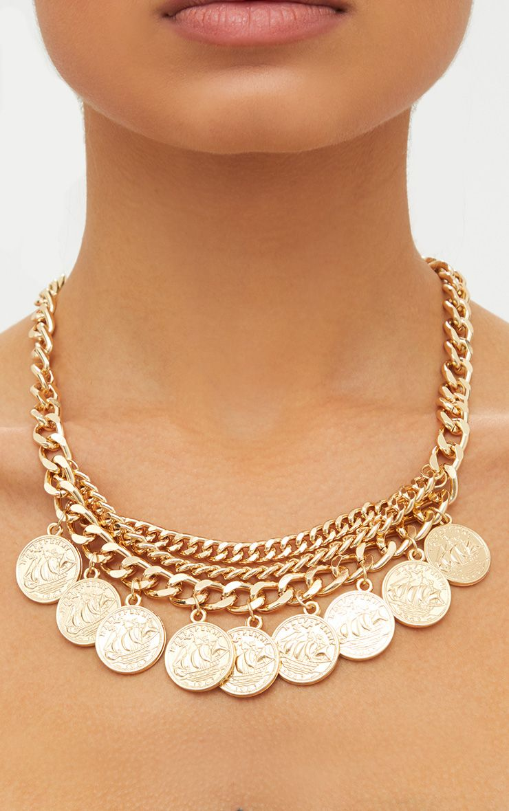 Gold Chain Layered Coin Necklace