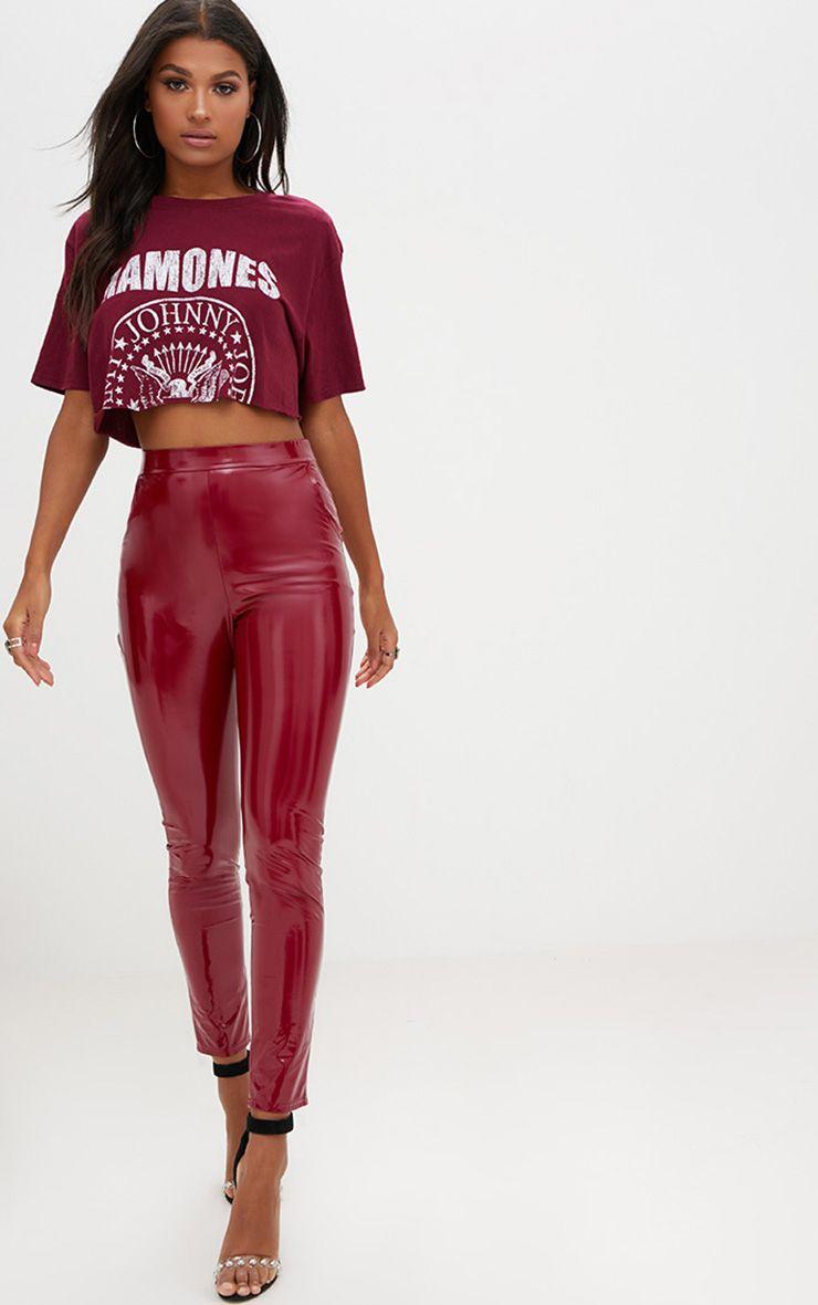 Burgundy Vinyl Skinny Trousers