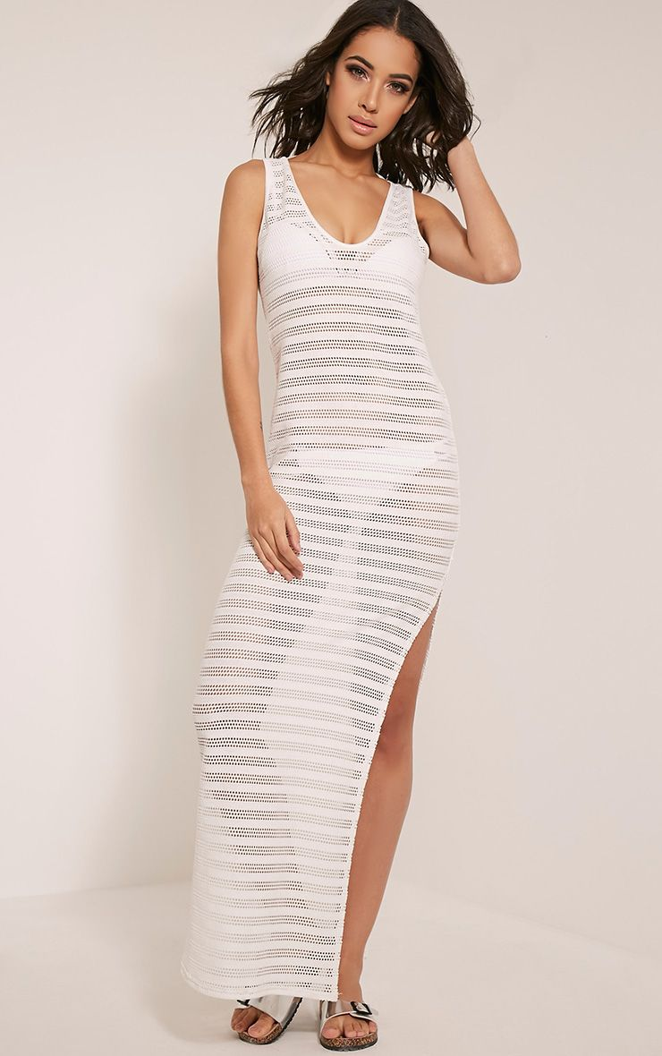 Erica White Scoop Back Lace Beach Maxi Dress 1