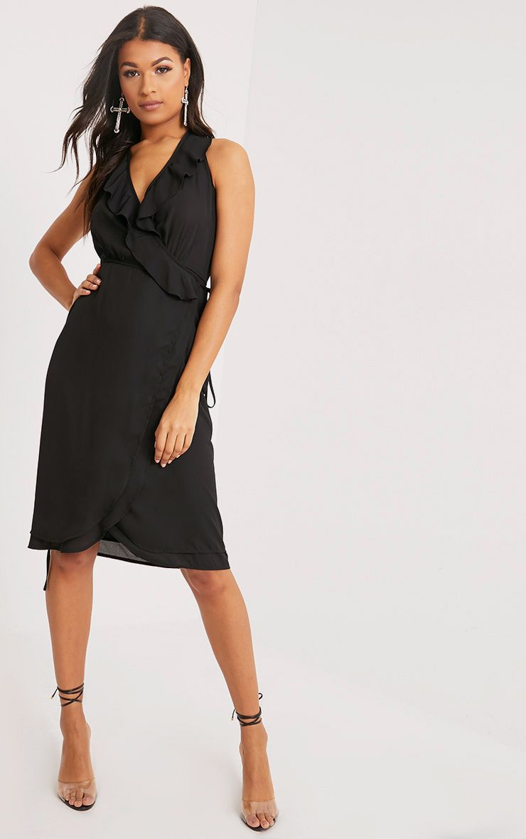 Karryana Black Halterneck Frill Wrap Midi Dress