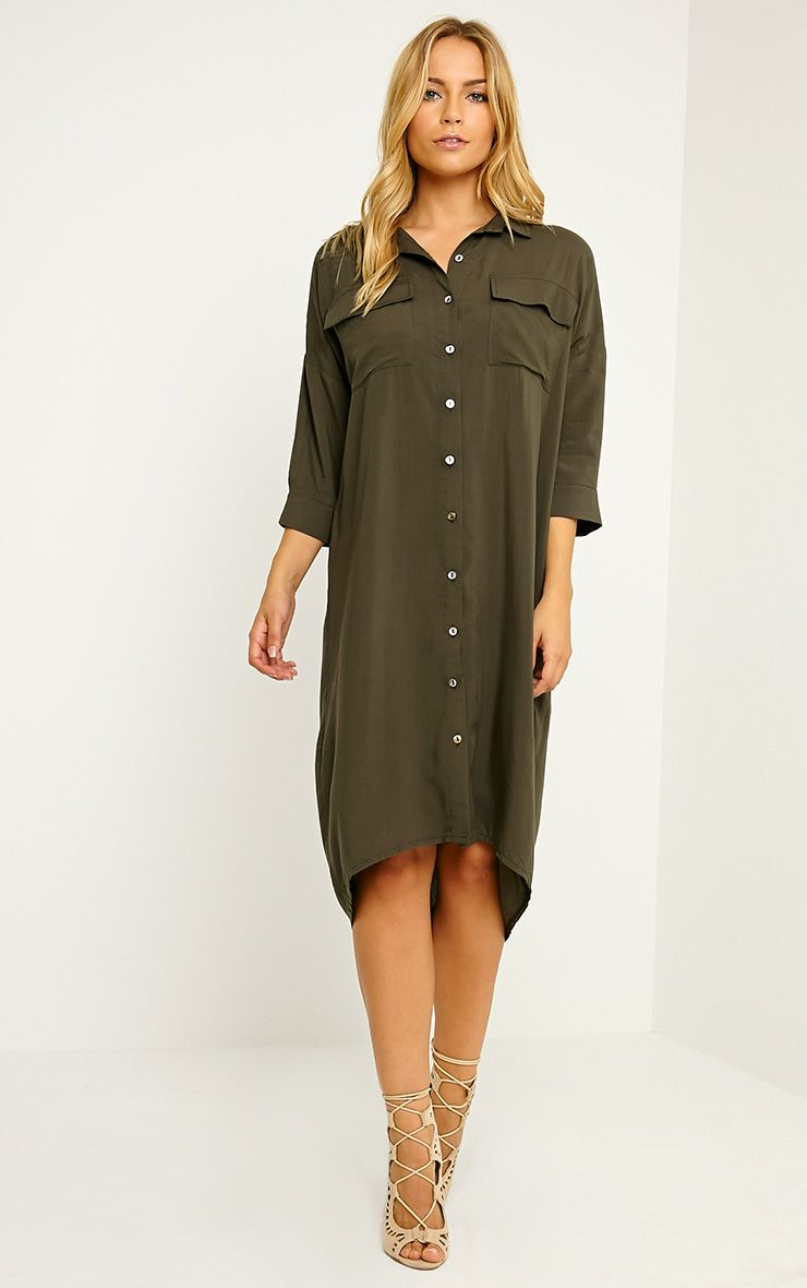 Perrin Khaki Longline Shirt Dress 1