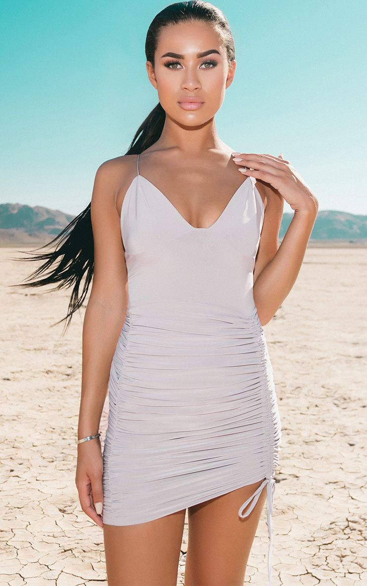Ice Grey Strappy Plunge Ruched Tie Bodycon Dress