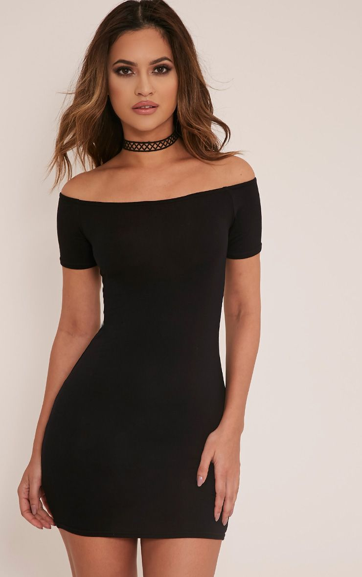 Basic Black Short Sleeve Bardot Bodycon Dress