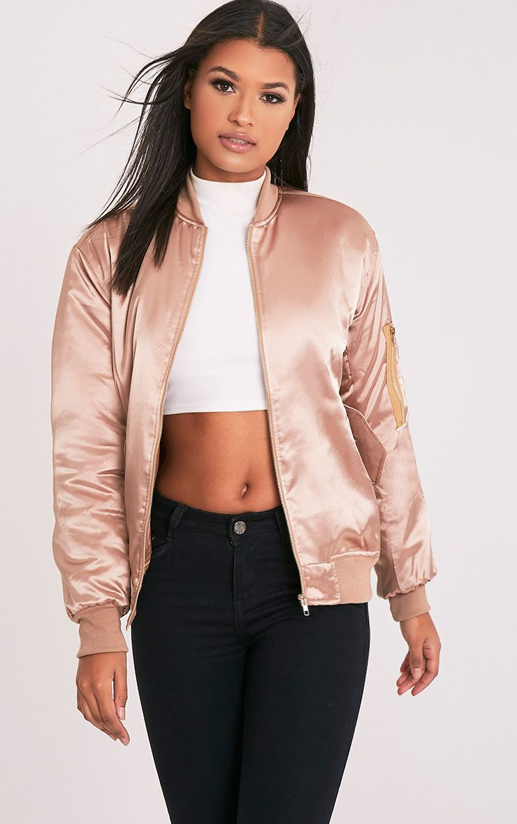 Cruz Gold Satin Oversized Bomber Jacket 1