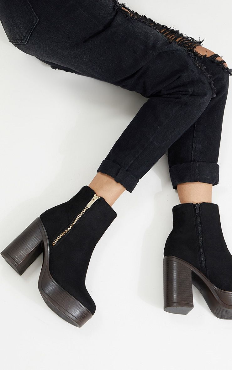 Black Zip Detail Platform Ankle Boot