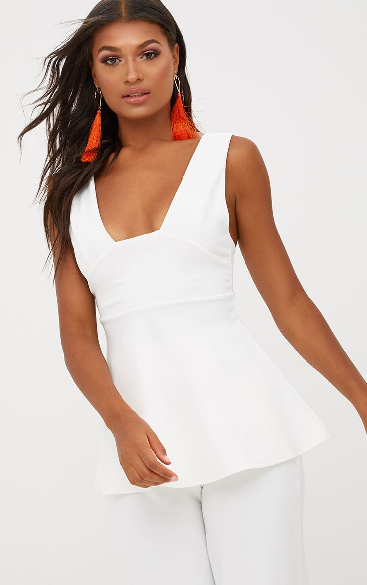 White Plunge Longline Top