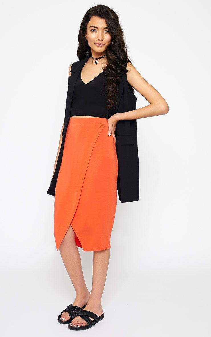 Sabbina Orange Jersey Wrap Midi Skirt 1