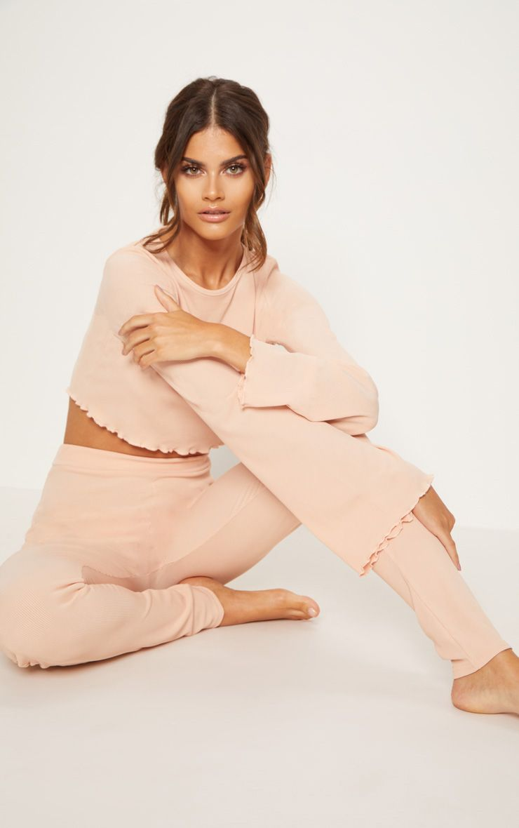 Pale Pink Ribbed Flare Sleeve Long PJ Set