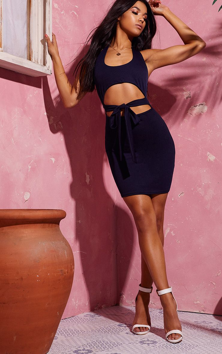 Navy Halterneck Cut Out Tie Detail Bodycon Dress