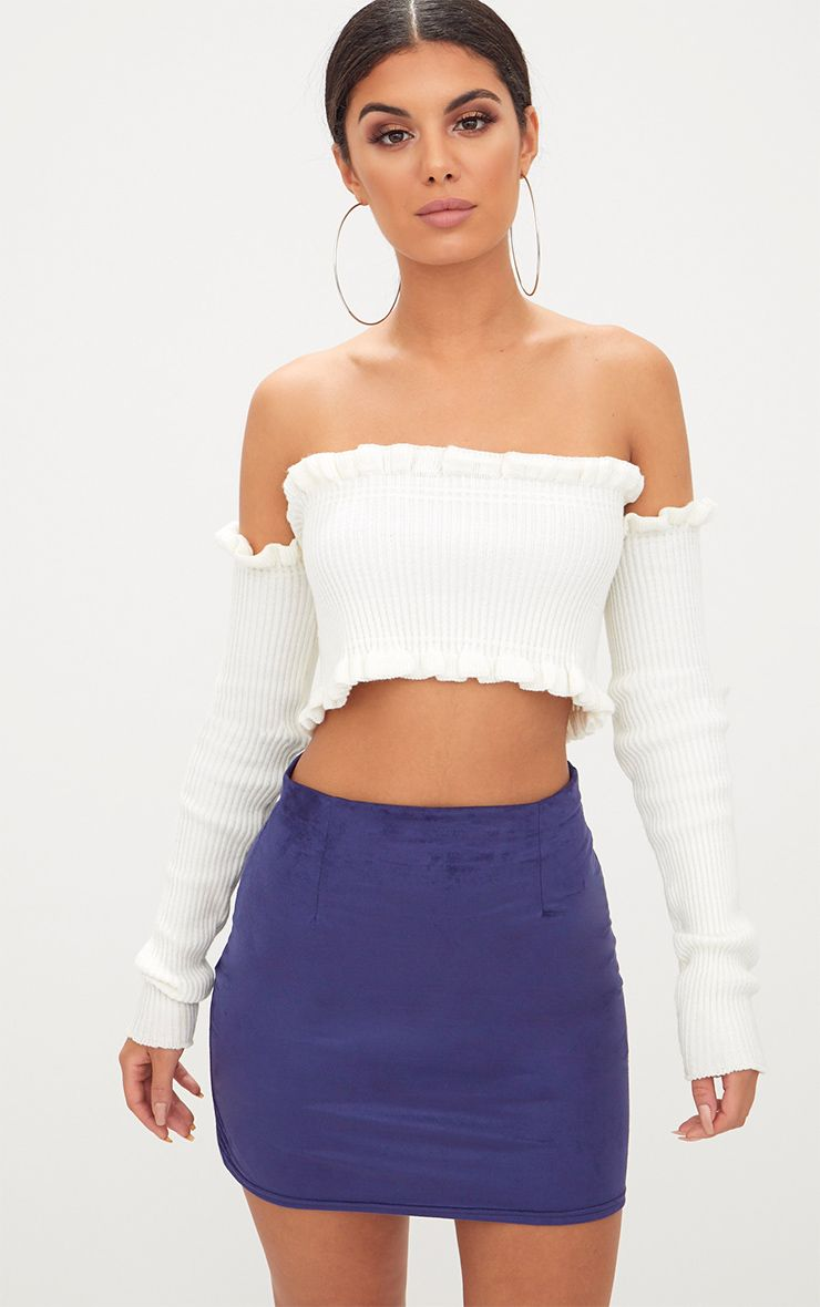 Navy Faux Suede Mini Skirt