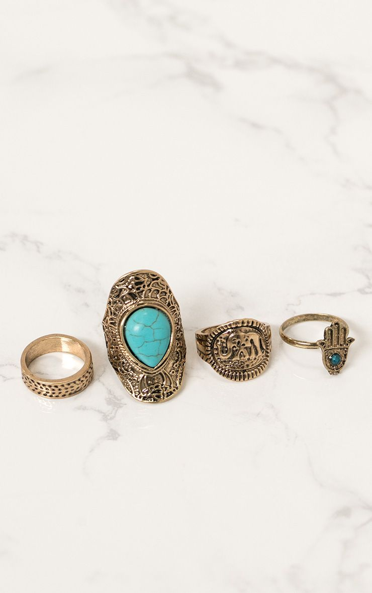 Gold 4 Pack Hamsa Hand With Blue Gemstone Rings  1