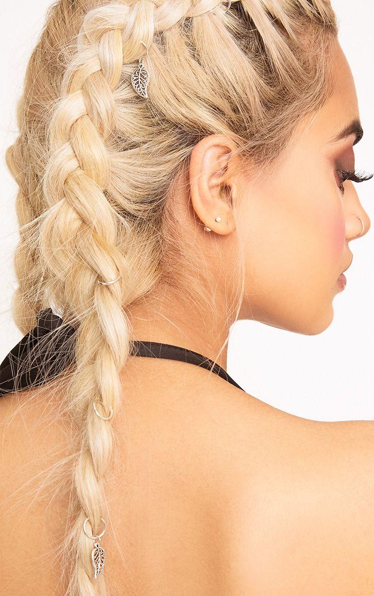 Silver Leaf Charm Hair Rings