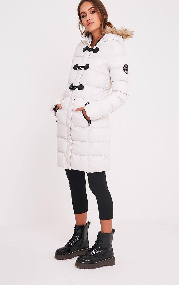 Calynn Stone Faux Fur Trim Longline Puffer Jacket