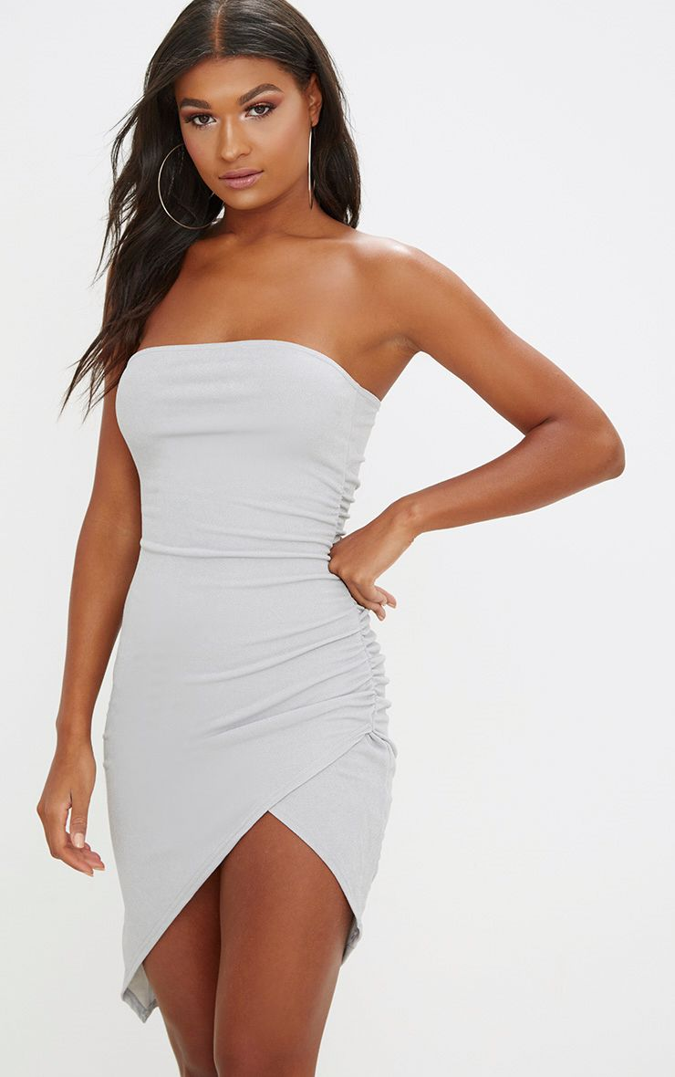 Ice Grey Bandeau Wrap Ruched Front Bodycon Dress