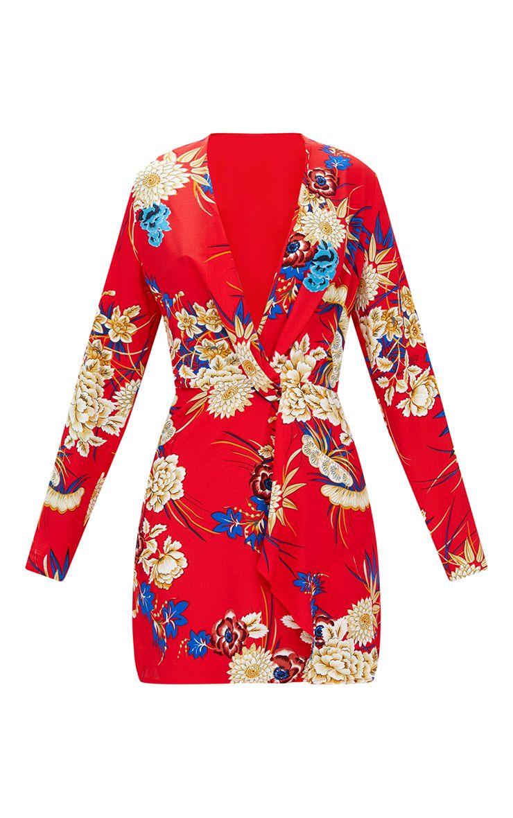 robe cache c ur rouge manches longues fleurs robes. Black Bedroom Furniture Sets. Home Design Ideas