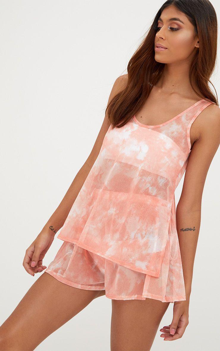 Pink Mesh Tie Dye Beach Longline Top