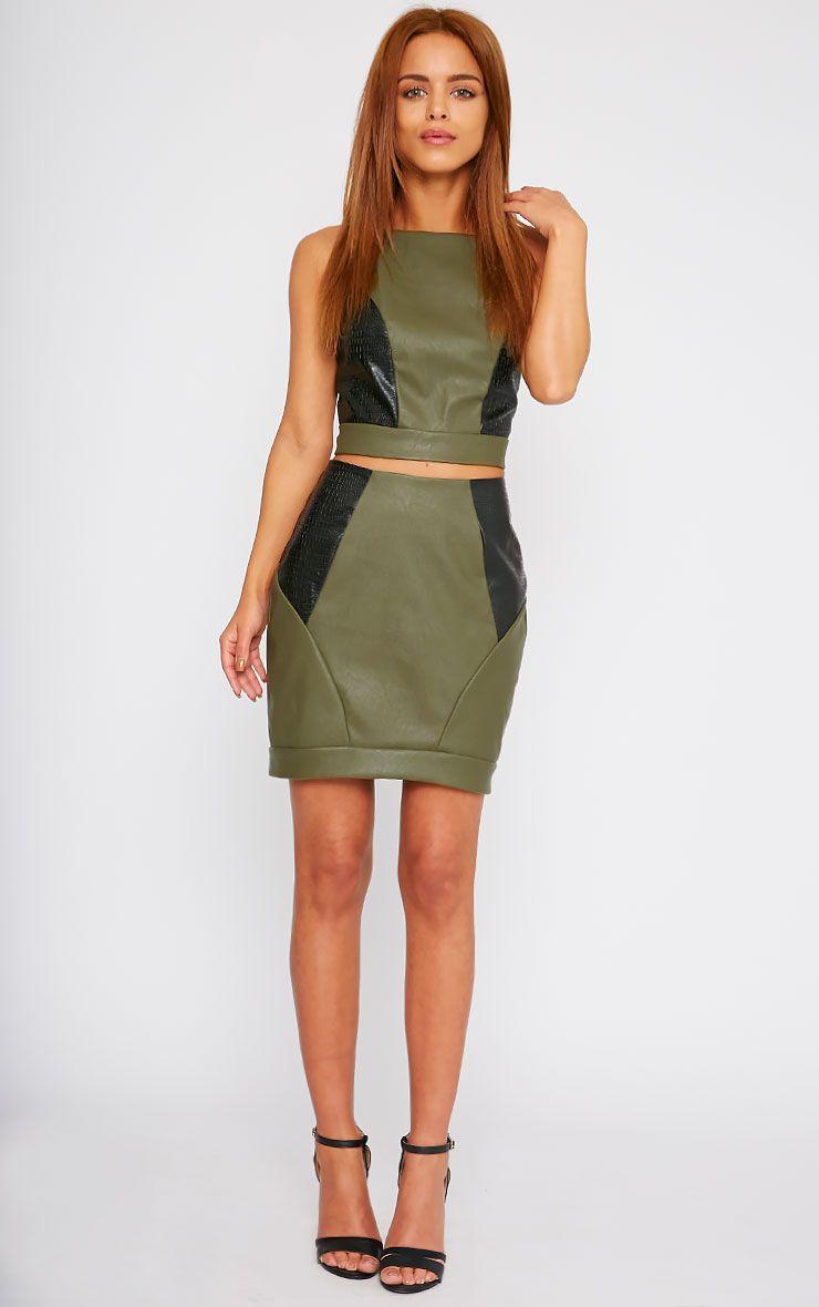 Phay Khaki Leather Panel Mini Skirt 1