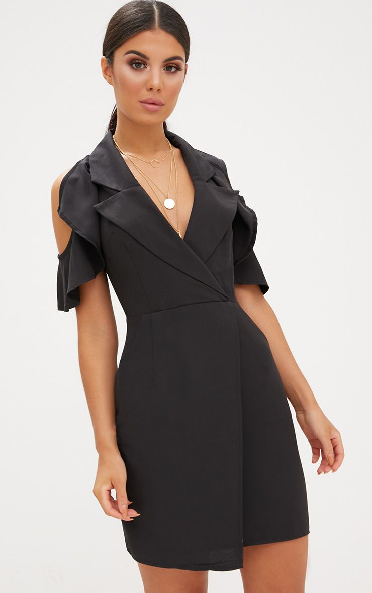 Black Cold Shoulder Wrap Over Blazer Dress