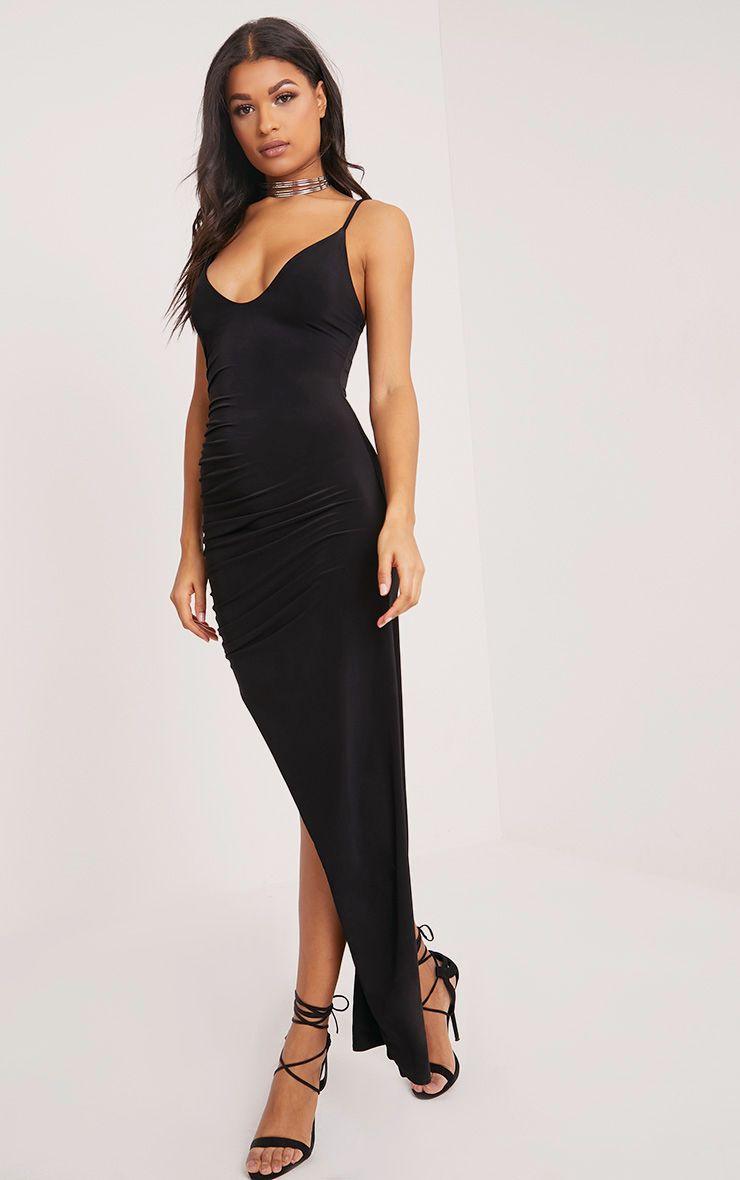 Albian Black Strappy Ruched Maxi Dress