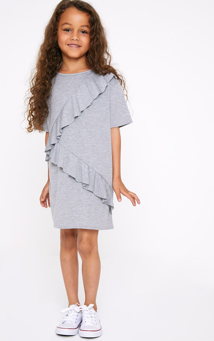 Grey Ruffle Front T shirt Dress